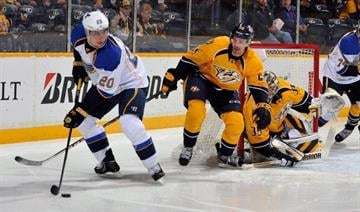 NASHVILLE, TN - MARCH 06:  Roman Josi #59 of the Nashville Predators defends against Alexander Steen #20 of the St. Louis Blues at Bridgestone Arena on March 6, 2014 in Nashville, Tennessee.  (Photo by Frederick Breedon/Getty Images) By Frederick Breedon