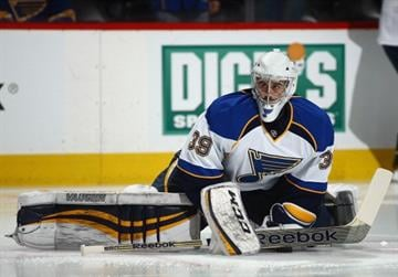 DENVER, CO - MARCH 08:  Goalie Ryan Miller #39 of the St. Louis Blues stretches during warm ups prior to facing the Colorado Avalanche at Pepsi Center on March 8, 2014 in Denver, Colorado.  (Photo by Doug Pensinger/Getty Images) By Doug Pensinger