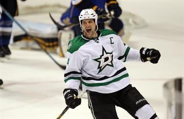 Dallas Stars Jamie Benn celebrates his overtime goal against the St. Louis Blues at the Scottrade Center in St. Louis on March 11, 2014. Dallas defeated St. Louis 3-2. UPI/Bill Greenblatt By BILL GREENBLATT