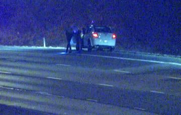 Police search the vehicle of a wrong-way driver in west St. Louis County. By KMOV Web Producer