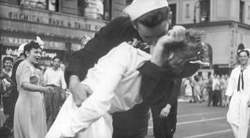 A U.S. sailor kisses a nurse in New York City's Times Square while celebrating Japan's surrender to end World War II, Aug. 14, 1945.  VICTOR JORGENSEN, AP By VICTOR JORGENSEN