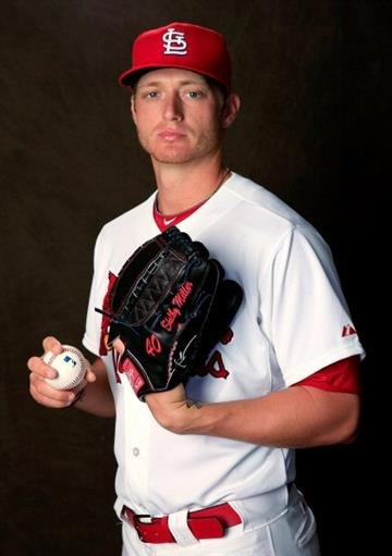 JUPITER, FL - FEBRUARY 24:  Pitcher Shelby Miller #40 of the St. Louis Cardinals poses for a portrait during photo day at Roger Dean Stadium on February 24, 2014 in Jupiter, Florida.  (Photo by Rob Carr/Getty Images) By Rob Carr