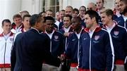 President Barack Obama greets members of the U.S. World Cup soccer team under the North Portico of the White House in Washington, Thursday, May 27, 2010. (AP Photo/Susan Walsh)