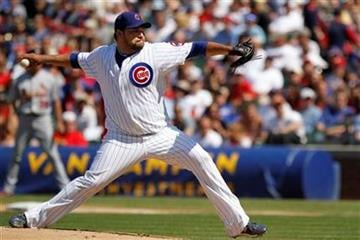 Chicago Cubs starting pitcher Carlos Silva pitches to the St Louis Cardinals Felipe Lopez in the 1st inning in a baseball game on Saturday, May 29, 2010, in Chicago. (AP Photo/Charles Cherney) By Charles Cherney