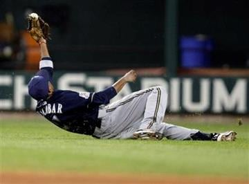 Milwaukee Brewers shortstop Alcides Escobar makes a sliding catch on a ball popped up by St. Louis Cardinals' Ryan Ludwick in the fifth inning of a baseball game, Friday, June 4, 2010, in St. Louis.(AP Photo/Tom Gannam) By Tom Gannam
