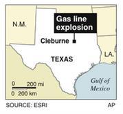Locates a massive gas line explosion in Texas. AP 2010.