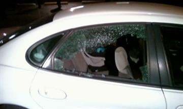 Undercover police car after Monday's shootout