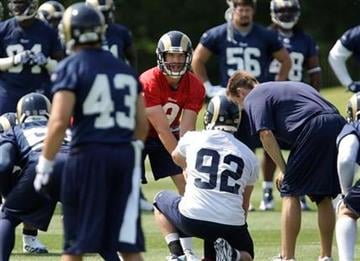 St. Louis Rams first-round draft pick quarterback Sam Bradford, in red,  calls the play during practice at a team minicamp, Thursday, June 10, 2010 in St. Louis.(AP Photo/Tom Gannam) By Tom Gannam