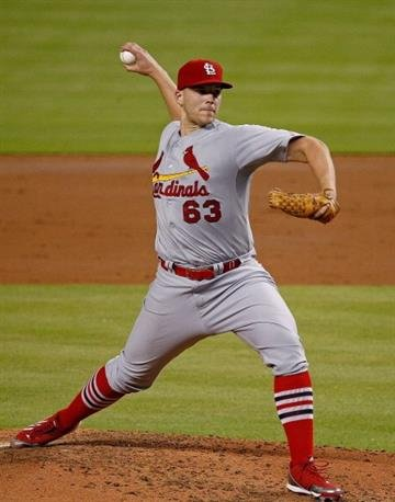 MIAMI, FL - AUGUST 13:  Justin Masterson #63 of the St. Louis Cardinals pitches during the third inning of the game against the Miami Marlins at Marlins Park on August 13, 2014 in Miami, Florida.  (Photo by Rob Foldy/Getty Images) By Rob Foldy