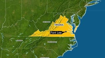This map highlights the state of Virginia. Fort Lee, a United States Army post is called By Stephanie Baumer