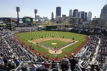 PITTSBURGH, PA- APRIL 10: A general view of the Los Angeles Dodgers and Pittsburgh Pirates on the baselines during the national anthem on April 10, 2006 at PNC Park in Pittsburgh, Pennsylvania. (Photo by Rick Stewart/Getty Images) By Rick Stewart