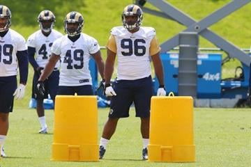EARTH CITY, MO - MAY 16: Michael Sam #96 of the St. Louis Rams looks on during a rookie minicamp at Rams Park on May 16, 2014 in Earth City, Missouri.  (Photo by Dilip Vishwanat/Getty Images) By Dilip Vishwanat