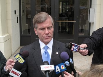 Gov. Bob McDonnell, R-Virginia, takes questions from the media Tuesday April 30, 2013 about reports of a federal investigation into his ties with a top campaign donor. By Paul Courson