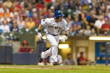 MILWAUKEE, WI - SEPTEMBER 5: Scooter Gennett #2 of the Milwaukee Brewers runs to first against the St. Louis Cardinals at Miller Park on September 5, 2014 in Milwaukee, Wisconsin.  (Photo by Tom Lynn/Getty Images) By Tom Lynn