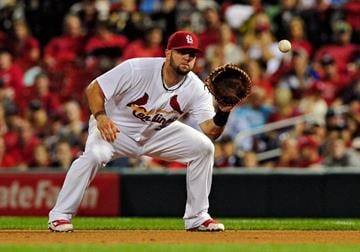 ST. LOUIS, MO - AUGUST 7: Matt Adams #32 of the St. Louis Cardinals catches a line drive during the sixth inning against the Boston Red Sox at Busch Stadium on August 7, 2014 in St. Louis, Missouri.  (Photo by Jeff Curry/Getty Images) By Jeff Curry