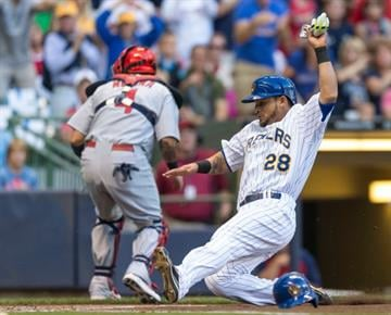 MILWAUKEE, WI - SEPTEMBER 6: Gerardo Parra #28 of the Milwaukee Brewers slides safely home against the St. Louis Cardinals at Miller Park on September 6, 2014 in Milwaukee, Wisconsin.  (Photo by Tom Lynn/Getty Images) By Tom Lynn