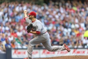 MILWAUKEE, WI - SEPTEMBER 6: Lance Lynn #31 of the St. Louis Cardinals pitches to a Milwaukee Brewers batter at Miller Park on September 6, 2014 in Milwaukee, Wisconsin.  (Photo by Tom Lynn/Getty Images) By Tom Lynn
