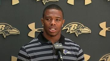 """Ray Rice, the Baltimore Ravens running back suspended by the NFL for two games after video showed him dragging his then-fiancée (now his wife) from an elevator, told reporters on Thursday, July 31, 2014 his actions were """"inexcusable."""" By Stephanie Baumer"""