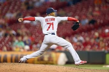 CINCINNATI, OH - SEPTEMBER 08:  Sam Freeman #71 of the St. Louis Cardinals throws a pitch during the game against the Cincinnati Reds at Great American Ball Park on September 8, 2014 in Cincinnati, Ohio.  (Photo by Andy Lyons/Getty Images) By Andy Lyons