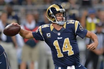 ST. LOUIS, MO - SEPTEMBER 7: Shaun Hill #14 of the St. Louis Rams passes against the Minnesota Vikings in the first quarter at the Edward Jones Dome on September 7, 2014 in St. Louis, Missouri. (Photo by Michael B. Thomas/Getty Images) By Michael Thomas