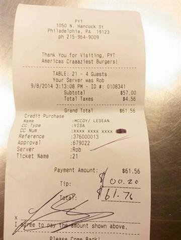 """""""The twenty cent tip that the Eagles' LeSean McCoy just left our server on his $60 check is going to come in really handy for that new official NFL McCoy jersey he had his heart set on.  That is a .03% tip. New record!"""" By Stephanie Baumer"""