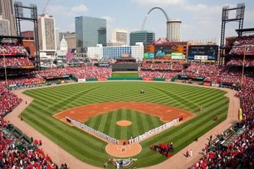 ST. LOUIS, MO - MARCH 31: Members of the St. Louis Cardinals and San Diego Padres line up for the National Anthem on opening day at Busch Stadium on March 31, 2011 in St. Louis, Missouri.  (Photo by Dilip Vishwanat/Getty Images) By Dilip Vishwanat