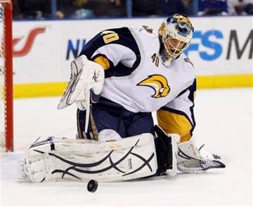 Buffalo Sabres goalie Patrick Lalime (40) makes a save in the second period of an NHL hockey game against the St. Louis Blues, Sunday, Dec. 27, 2009 in St. Louis. (AP Photo/Tom Gannam) By Tom Gannam