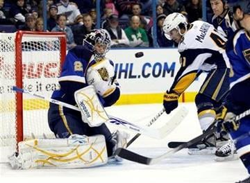 St. Louis Blues goalie Ty Conklin (29) makes a save on a shot by Buffalo Sabres' Clarke MacArthur (41) in the first period of an NHL hockey game, Sunday, Dec. 27, 2009 in St. Louis. (AP Photo/Tom Gannam) By Tom Gannam