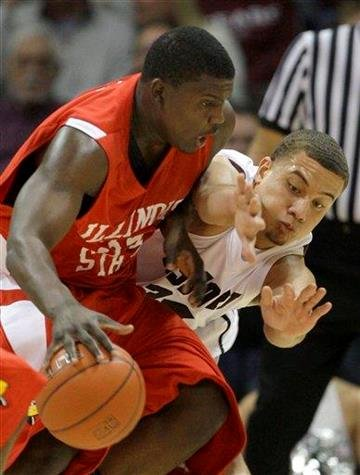 Missouri State's Kyle Weems, right, tries to steal the ball from Illinois State's Tony Lewis during the first half of an NCAA college basketball game Friday, Jan. 1, 2010, in Springfield, Mo. (AP Photo/Charlie Riedel) By Charlie Riedel