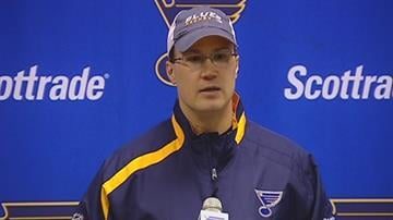 Davis Payne, who was named interim head coach of the St. Louis Blues, speaks during a news conference on Saturday, Jan. 2, 2010. Payne replaces Andy Murray, who was fired earlier in the day.