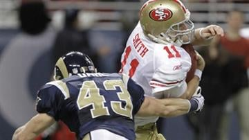San Francisco 49ers quarterback Alex Smith, right, is sacked for a 7-yard loss by St. Louis Rams safety Craig Dahl, left, during the second quarter of an NFL football game Sunday, Jan. 3, 2010, in St. Louis. (AP Photo/Seth Perlman) By Seth Perlman