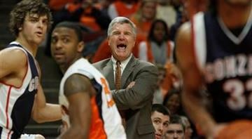 Illinois head coach Bruce Weber yells out to his players against Gonzaga during the first half of an NCAA college basketball game Saturday, Jan. 2, 2010, in Chicago. (AP Photo/Jim Prisching) By Jim Prisching