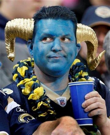 A football fan is seen in the stands during the second quarter of an NFL football game between the San Francisco 49ers and the St. Louis Rams, Sunday, Jan. 3, 2010, in St. Louis. (AP Photo/Tom Gannam) By Tom Gannam