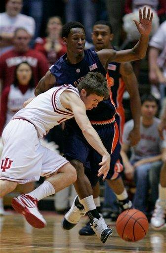 Indiana guard Jordan Hulls, front, drives to the basket against Illinois guard D.J. Richardson during the first half of an NCAA college basketball game in Bloomington, Ind., Saturday, Jan. 10, 2010. (AP Photo/Darron Cummings) By Darron Cummings