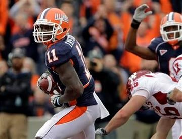 Illinois' Jarred Fayson (11) scores a touchdown against Indiana during the first half of an NCAA college football game in Champaign, Ill., Saturday, Oct. 23, 2010. (AP Photo/Seth Perlman) By Seth Perlman
