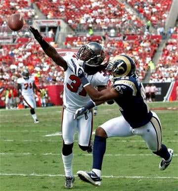 Tampa Bay Buccaneers cornerback E.J. Biggers (31) knocks the ball away from St. Louis Rams wide receiver Brandon Gibson (11) during the second quarter of an NFL football game, Sunday, Oct. 24, 2010, in Tampa, Fla. (AP Photo/Brian Blanco) By Brian Blanco