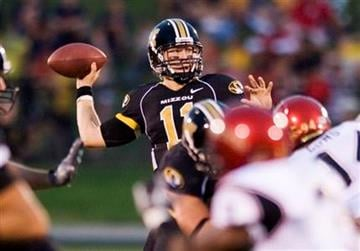 Missouri quarterback Blaine Gabbert throws a pass during the second quarter of an NCAA college football game against San Diego State, Saturday, Sept. 18, 2010, in Columbia. Missouri won the game 27-24. (AP Photo/L.G. Patterson) By L.G. Patterson