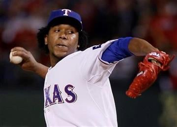 Texas Rangers' Neftali Feliz throws during the ninth inning of Game 3 of baseball's World Series against the San Francisco Giants Saturday, Oct. 30, 2010, in Arlington, Texas. (AP Photo/Matt Slocum) By Matt Slocum