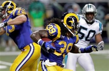 St. Louis Rams running back Steven Jackson carries the ball during the first quarter of an NFL football game Sunday, Oct. 31, 2010, in St. Louis. (AP Photo/Seth Perlman) By Seth Perlman