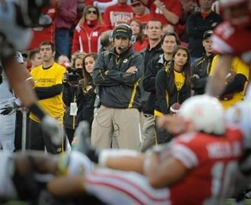 Missouri's head coach Gary Pinkel watches Nebraska's Roy Helu Jr. (10) get tackled during an NCAA college football game, Saturday Oct 30, 2010, in Lincoln, Neb.(AP Photo/Dave Weaver) By Dave Weaver