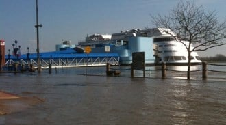 The President Casino on the Admiral during one of its many closures due to the flooded Mississippi River. By Afton Spriggs