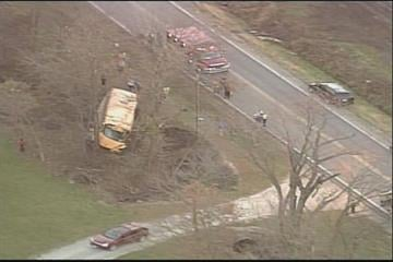 This aerial photo shows the scene of an accident in northwest Missouri where a bus veered off a highway. Several students and a bus driver have been treated and released. (November 4, 2010) By KMOV Web Producer