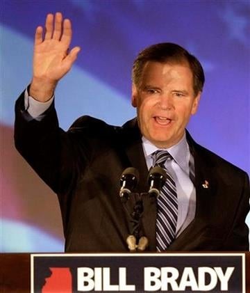 Illinois Republican gubernatorial candidate Bill Brady waves to supporters in Bloomington, Ill., Wednesday, Nov. 3, 2010. (AP Photo/Seth Perlman) By Seth Perlman