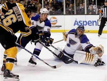 St. Louis Blues goalie Jaroslav Halak stops Boston Bruins right wing Blake Wheeler (26) as defenseman Nikita Nikitin helps out during the second period of a NHL hockey game in Boston Saturday, Nov. 6, 2010. (AP Photo/Winslow Townson) By Winslow Townson