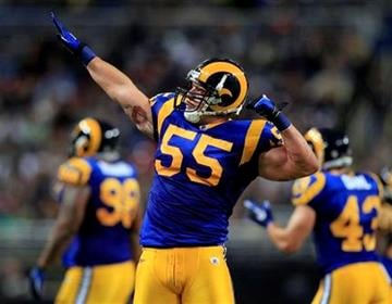 St. Louis Rams linebacker James Laurinaitis celebrates sacking Carolina Panthers quarterback Matt Moorewith during the third quarter of an NFL football game Sunday, Oct. 31, 2010, in St. Louis. (AP Photo/Jeff Roberson) By Jeff Roberson