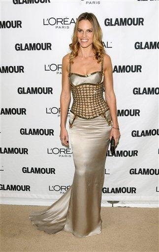 Actress Hilary Swank attends the 20th annual Glamour Women of the Year Awards at Carnegie Hall in New York, on Monday, Nov. 8, 2010. (AP Photo/Peter Kramer) By Peter Kramer