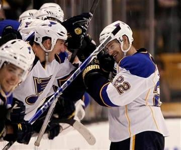 St. Louis Blues center Brad Boyes (22) is congratulated by teammates after scoring the winning goal during the shootout in St. Louis'  2-1win in a NHL hockey game in Boston Saturday, Nov. 6, 2010. (AP Photo/Winslow Townson) By Winslow Townson