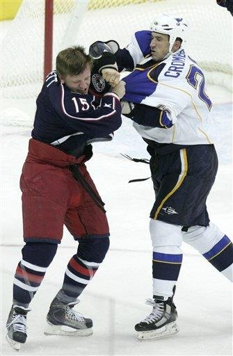 Columbus Blue Jackets' Derek Dorsett, left, and  St Louis Blues' BJ Crombeen fight in the third period of an NHL hockey game in Columbus, Ohio, Wednesday, Nov. 10, 2010. The Blue Jackets won 8-1. (AP Photo/Paul Vernon) By Paul Vernon