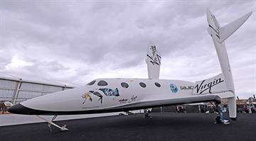 Static display of Virgin Galactic's SpaceShipTwo at Farnborough, United Kingdom on Monday, July 9, 2012. By Stephanie Baumer