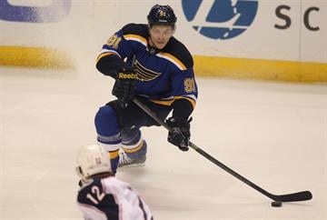 St. Louis Blues Vladimir Tarasenko passes the puck in front of the Columbus Blue Jackets goal in the first period at the Scottrade Center in St. Louis on September 25, 2014. UPI/BIll Greenblatt By BILL GREENBLATT